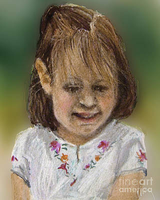 Little Girls Mixed Media - Happy by Cecily Mitchell