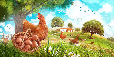 Gaia Mixed Media - Happy Chicken Farm by Luis Peres