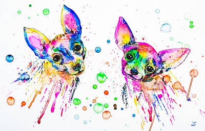Painting - Happy Chihuahuas by Zaira Dzhaubaeva