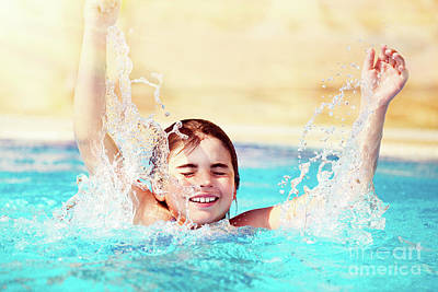 Photograph - Happy Child In The Pool by Anna Om