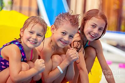Photograph - Happy Children In Aqua Park  by Anna Om