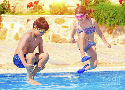 Photograph - Happy Children In The Pool by Anna Om