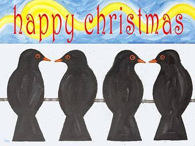 Wildlife Landscape Painting - Happy Christmas 127 by Patrick J Murphy