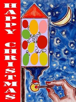 Fireworks Mixed Media - Happy Christmas 76 by Patrick J Murphy