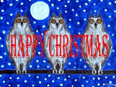 Night Owl Mixed Media - Happy Christmas 94 by Patrick J Murphy