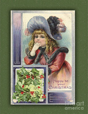 Digital Art - Happy Christmas Vintage Card  by Melissa Messick