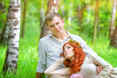 Photograph - Happy Couple In A Park by Anna Om