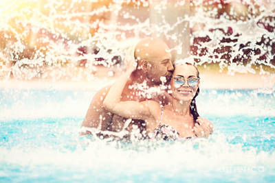 Photograph - Happy Couple In The Pool by Anna Om