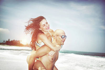 Photograph - Happy Couple On A Beach by Anna Om