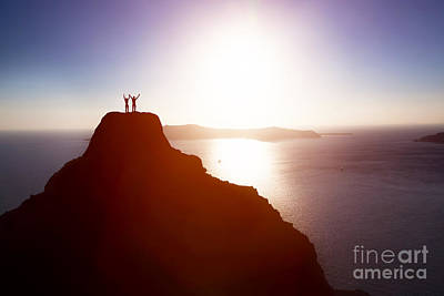 Success Photograph - Happy Couple On The Top Of The Mountain Over Ocean Celebrating Life by Michal Bednarek