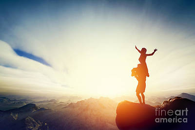 Photograph - Happy Couple On The Top Of The World by Michal Bednarek