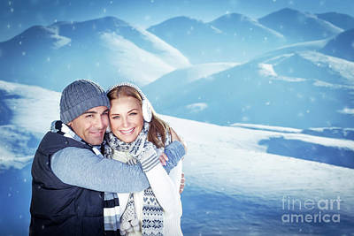 Photograph - Happy Couple On Winter Resort by Anna Om