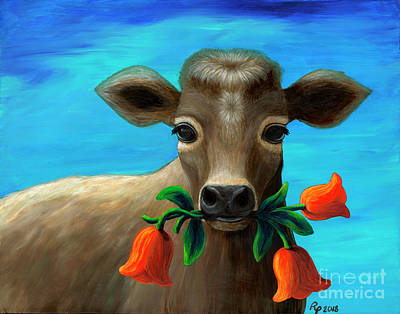 Painting - Happy Cow by Rebecca Parker