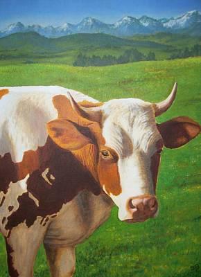 Farmanimals Painting - Happy Cow by Sabina Bonifazi