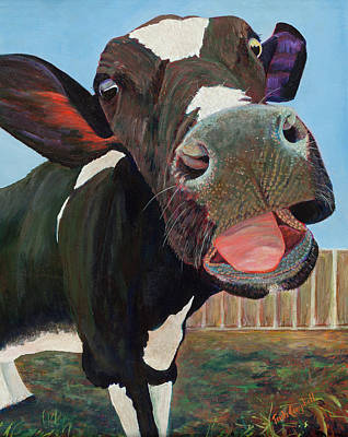 Painting - Happy Cow by Trish Campbell