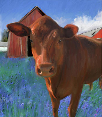 Digital Art - Happy Cow West Marin  by Julianne Ososke