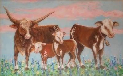 Lynn Burton Wall Art - Painting - Happy Cows by Lynn Burton