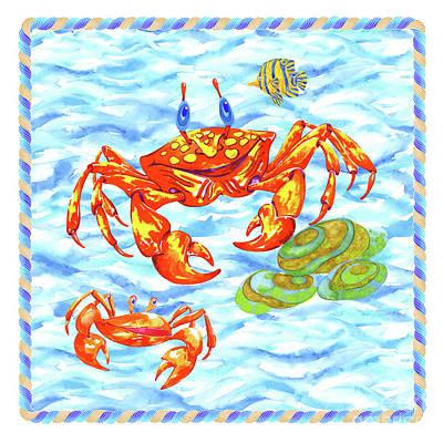 Wall Art - Painting - Happy Crabs by Svetlana Titarenko