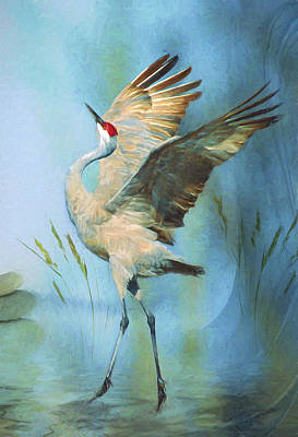 Crane Digital Art - Happy Dance by Anita Hubbard