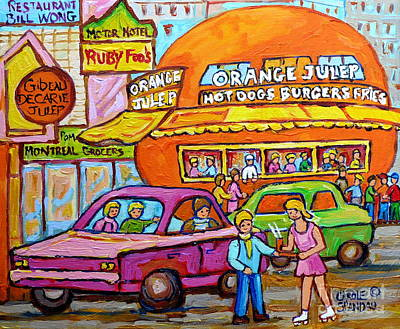 Painting - Happy Days At The Orange Julep Paintings C Spandau Decarie Strip Montreal Memories Quebec Art        by Carole Spandau