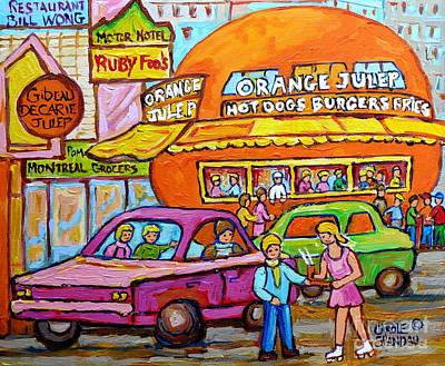 Happy Days At The Orange Julep Paintings C Spandau Decarie Strip Montreal Memories Quebec Art        Original