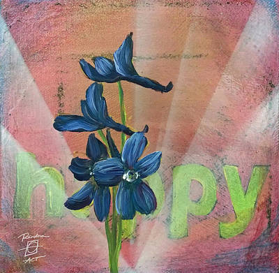 Happy Delphinium Art Print by Andrea LaHue