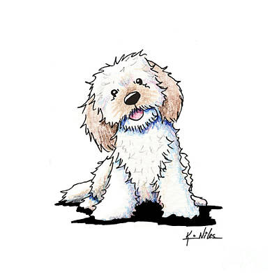 Kiniart Drawing - Happy Doodle Puppy by Kim Niles