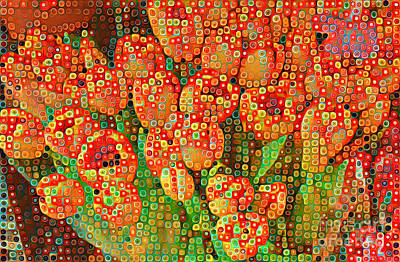 Photograph - Happy Dots - Orange Tulips Of Summer by Miriam Danar