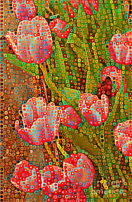 Photograph - Happy Dots - Red Tulips by Miriam Danar