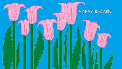 Happy Easter 1 Art Print by Linda Velasquez