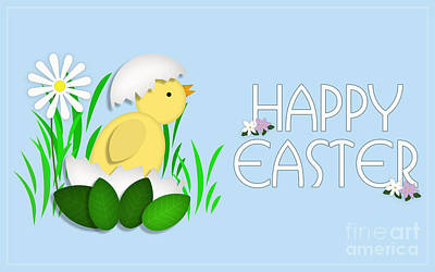 Digital Art - Happy Easter Baby Chick Card by Scott Parker