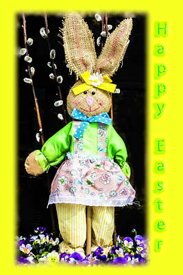 Happy Easter Bunny Girl Decoration Greeting Card Art Print by Mother Nature