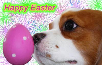 Happy Easter  Cavalier King Charles Spaniels  Art Print