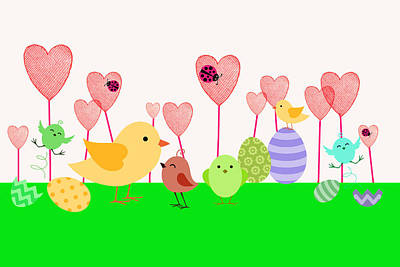 Bug Digital Art - Happy Easter Chicks by Chastity Hoff