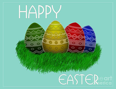 Digital Art - Happy Easter Eggs Card by Scott Parker