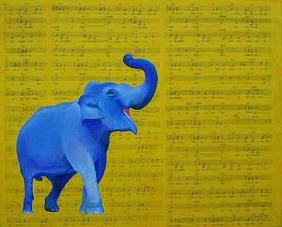 Happy Elephant Painting - Happy Elephant Singing Emily by Emily Page
