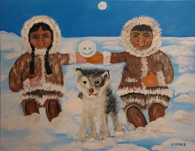 Painting - Happy Eskimo's by Aleta Parks