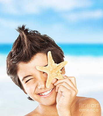 Preteen Photograph - Happy Face Boy With Starfish On The Beach by Anna Om
