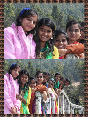 Rights Managed Images Painting - Happy Faces Twinkling Eyes Girls Enjoying A Picnic By Navinjoshi At Fineartamerica.com Pixels.com  by Navin Joshi