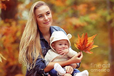 Photograph - Happy Family In The Autumn Park by Anna Om