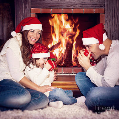 Photograph - Happy Family Near Fireplace by Anna Om