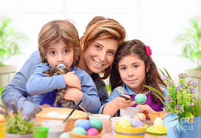 Photograph - Happy Family Preparing To Easter by Anna Om