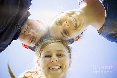 Friends Meeting Photograph - Happy Family Smiling In Sun Light Summer Garden by Jorgo Photography - Wall Art Gallery