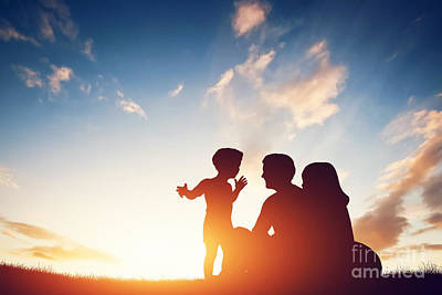 Sitting Photograph - Happy Family Together At Sunset. by Michal Bednarek