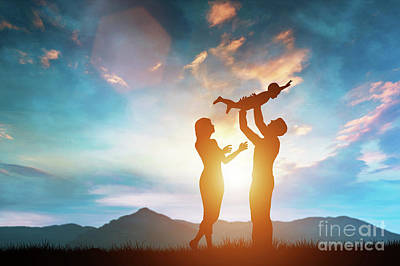 Photograph - Happy Family Together Outside At Sunset by Michal Bednarek