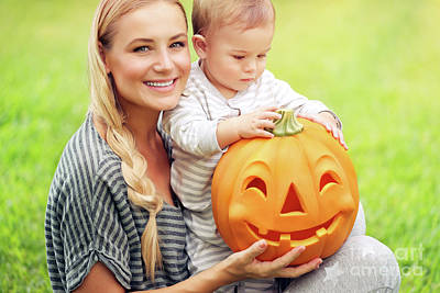 Photograph - Happy Family With Halloween Pumpkin by Anna Om
