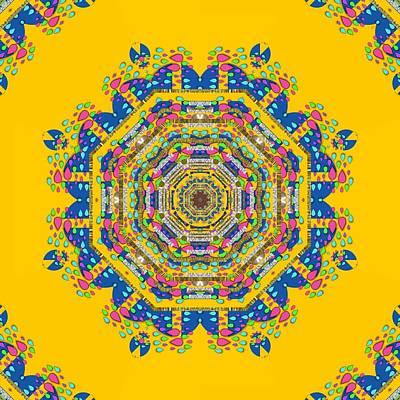 Popart Mixed Media - Happy Fantasy Earth Mandala by Pepita Selles