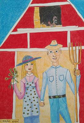 Red Barns Drawing - Happy Farm Couple by Clara Brayton