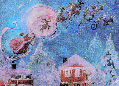 Digital Art - Happy Fat Santa Holding Down The Sleigh Painting by Lisa Kaiser