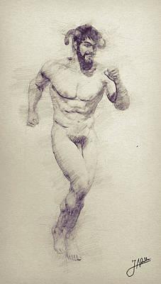Male Nude Drawing Digital Art - Happy Faun by Joaquin Abella